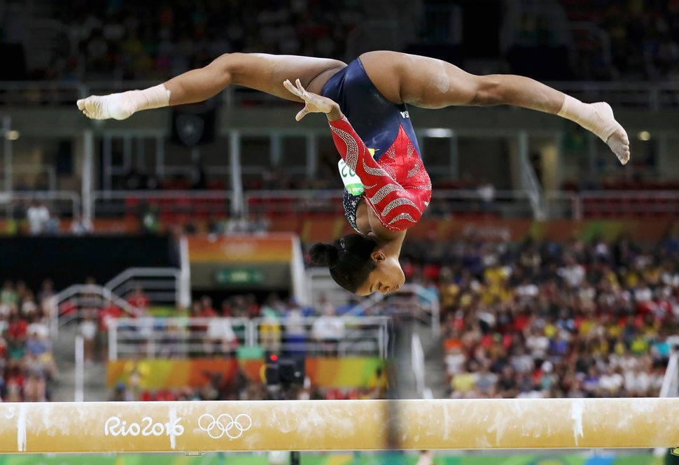 Gabby Douglas competes in the 2016 Rio Olympics for the Artistic Gymnastics Preliminary Women's Qualification.
