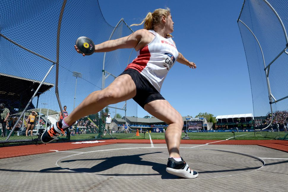 Kelsey Card of Wisconsin places third in the women's discus during the 2016 U.S. Olympic Team Trials at Hayward Field.