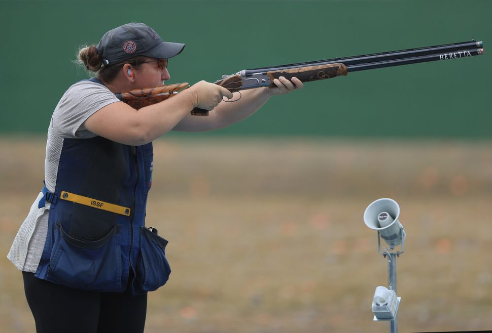 Kim Rhode of the United States shoots in a training session prior to the start of the Rio 2016 Olympic Games at the Olympic S