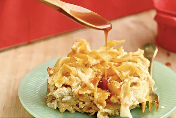 """<strong>Get the <a href=""""http://whatjewwannaeat.com/caramel-apple-kugel/"""" target=""""_blank"""">Caramel Apple Kugel recipe</a>&nbsp"""