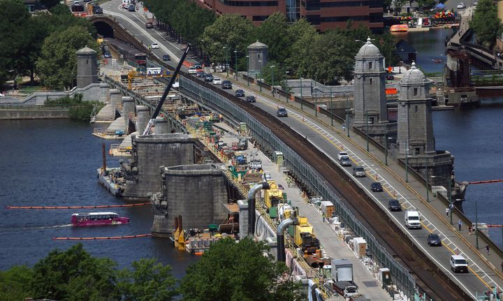 BOSTON - JUNE 24: Repairs on the Longfellow Bridge continue, including the removal of a couple of salt and pepper shaker-like