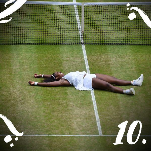 Serena Williams beat Germany's Angelique Kerber, winning the Wimbledon women's singles final and tyingthe r