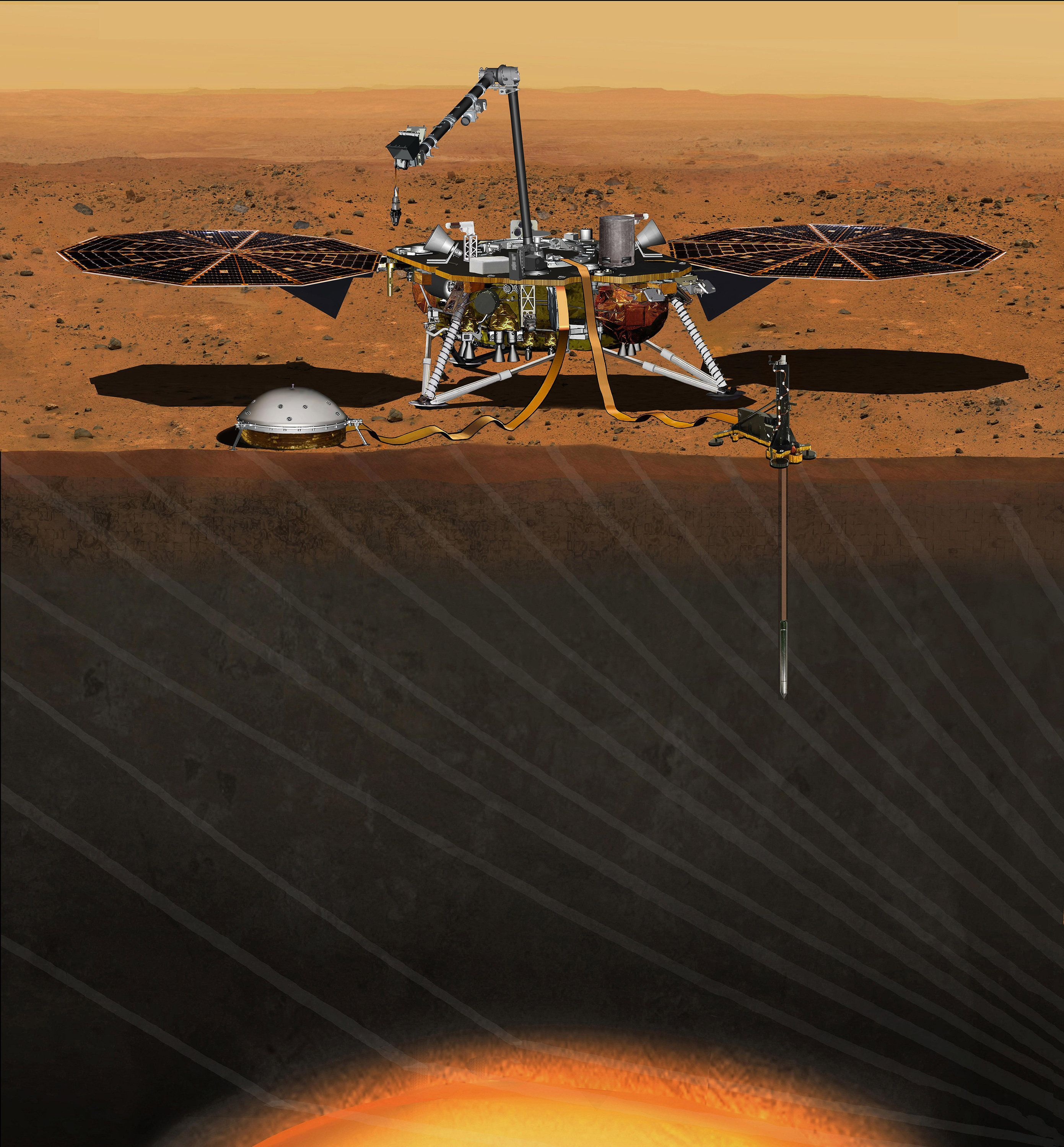 An artist's rendering depicts the InSight lander studying the interior of Mars.