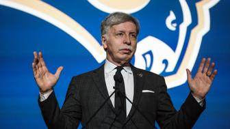 LA Rams owner Stan Kroenke. Inglewood hosted a community celebration and media press conference for the Rams returning to the Los Angeles area. The team left Los Angeles 21 years ago. A new stadium is to be built ion Inglewood, a city next to Los Angeles, and it should be completed in 2019. The Rams will play at the LA Coliseum until then. (Photo by Ted Soqui/Corbis via Getty Images)