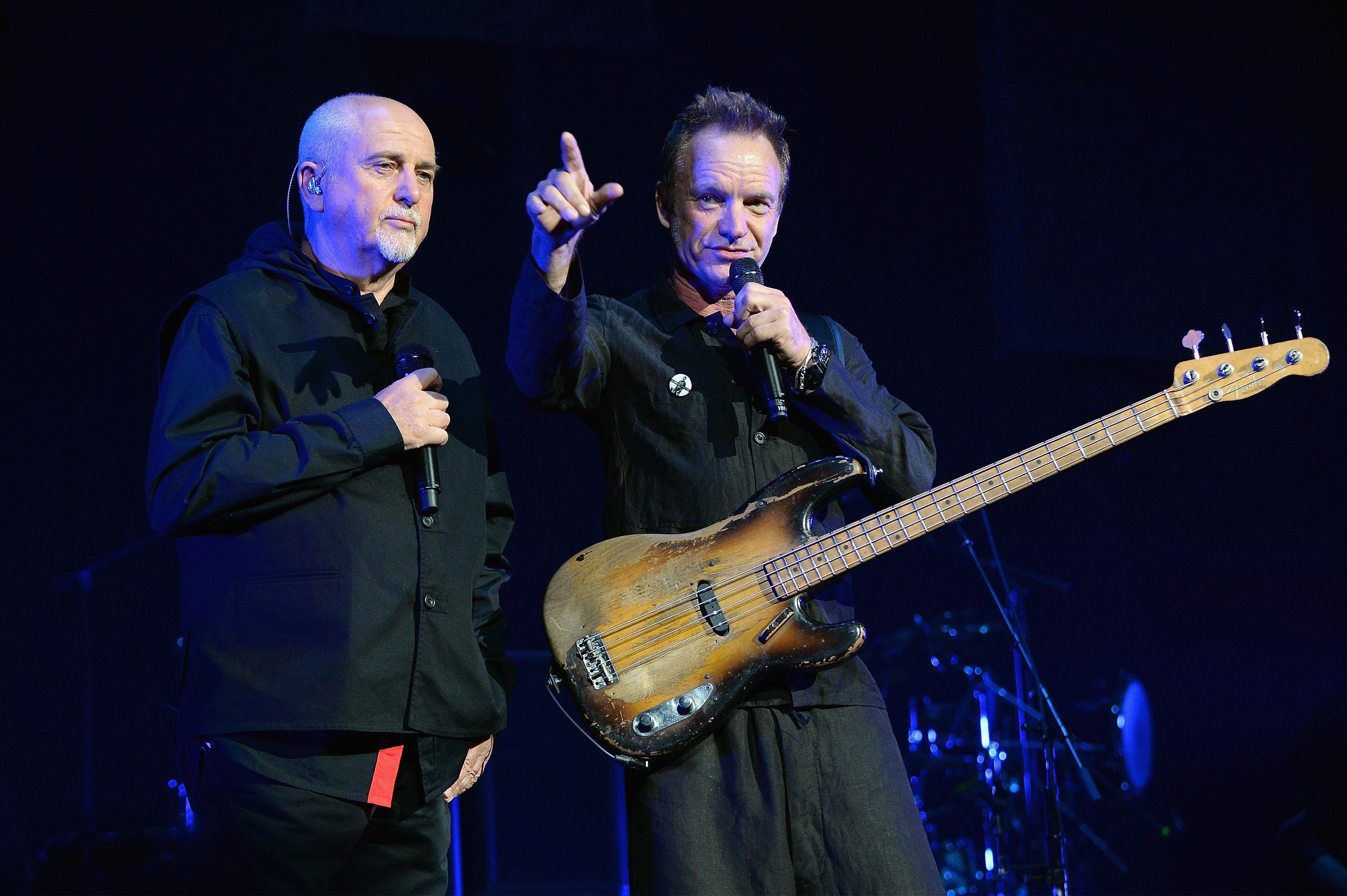 COLUMBUS, OH - JUNE 21:  Peter Gabriel (L) and Sting perform on stage during the 'Rock, Paper, Scissors' tour opener at Nationwide Arena on June 21, 2016 in Columbus, Ohio.  (Photo by Kevin Mazur/WireImage for Live Nation)