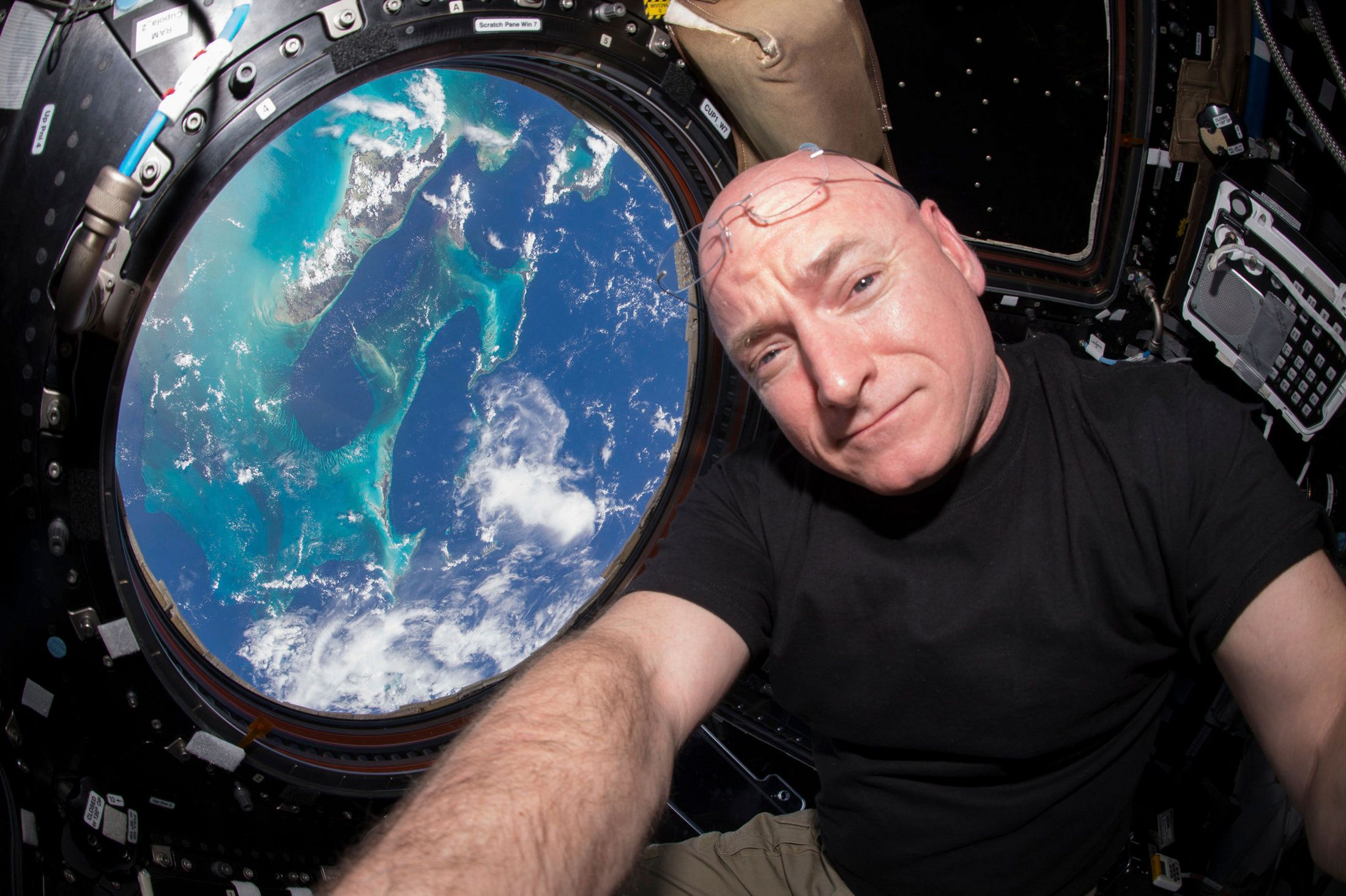 Astronaut Scott Kelly poses for a selfie on the International Space Station.