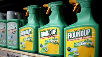 Monsanto's Roundup weedkiller atomizers are displayed for sale at a garden shop at Bonneuil-Sur-Marne near Paris, France in this June 16, 2015 file photo.   REUTERS/Charles Platiau/Files   GLOBAL BUSINESS WEEK AHEAD PACKAGE- SEARCH 'BUSINESS WEEK AHEAD APRIL 4' FOR ALL IMAGES