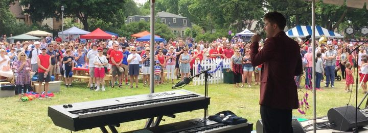 <p>Ian Ash performs with Ian & The Dream at Klode Park in Whitefish Bay, WI. July 4, 2016.</p>