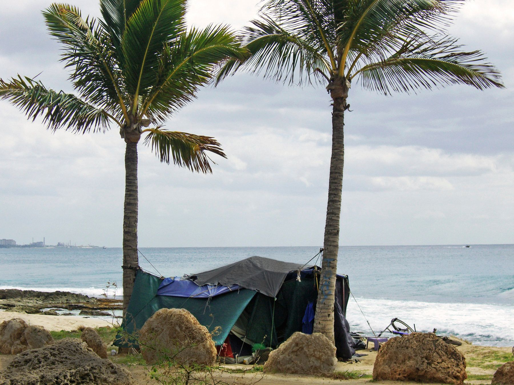 A homeless shelter on a beach on Oahu, Hawaii.