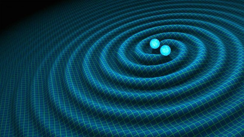 An artist's impression of gravitational waves generated by binary neutron stars, discovered by LIGO in 2016. Supercomputers h
