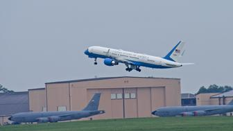 JOINT BASE ANDREWS, MD - JULY 2: Air Force One, with United States President Barack Obama aboard, takes off on July 2, 2015 at Joint Base Andrews, in Maryland.  The designation 'Air Force One' is extended to any airplane transporting the President of the U.S.  For the President's trip to LaCrosse, Wisconsin, the smaller C-32, which is a specially configured Boeing 757-200, was used, instead of the familiar VC-25.  In addition to its occasional use for Presidential travel, the C-32 regularly transports the Vice President, the first lady, members of the Cabinet and members of Congress.  (Photo by Ron Sachs-Pool/Getty Images)