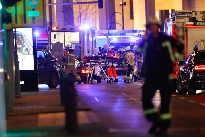 Paramedics work at the site of an accident at a Christmas market on Breitscheidplatz square near the fashionable Kurfuerstendamm avenue in the west of Berlin, Germany, December 19, 2016