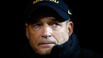 COLUMBIA, MO - NOVEMBER 21:  Head coach Gary Pinkel of the Missouri Tigers tears up as he waits in the tunnel during player introductions for the final time before retiring prior to the game against the Tennessee Volunteers at Faurot Field/Memorial Stadium on November 21, 2015 in Columbia, Missouri.  (Photo by Jamie Squire/Getty Images)