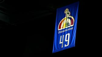 Oct 26, 2016; Orlando, FL, USA; Orlando Magic raise a banner displaying the number 49 to commemorate the lives lost in the Pulse nightclub shooting before the game against the Miami Heat at Amway Center. Mandatory Credit: Kim Klement-USA TODAY Sports