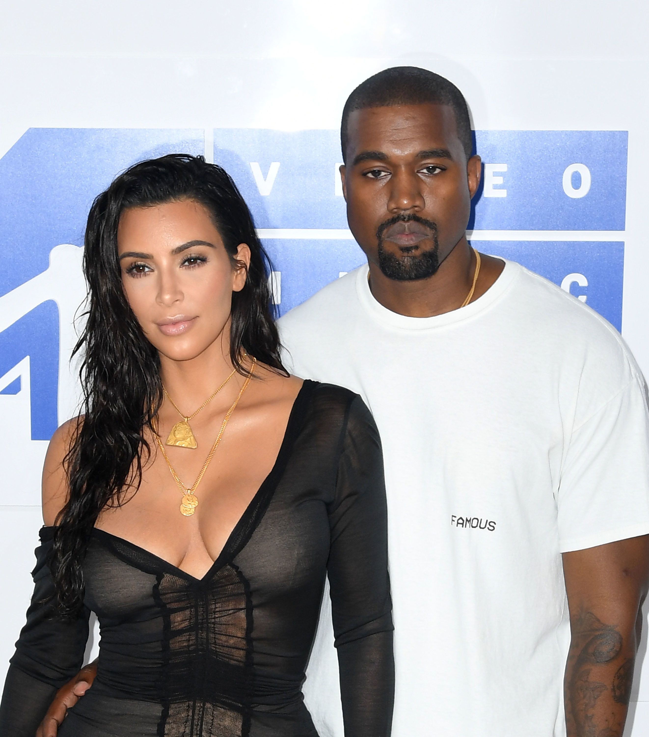 NEW YORK, NY - AUGUST 28:  Kanye West (L) and Kim Kardashian attend the 2016 MTV Video Music Awards at Madison Square Garden on August 28, 2016 in New York City.  (Photo by C Flanigan/FilmMagic)