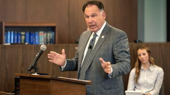 Orange County District Attorney Tony Rackauckas addresses the jury, giving his opening statement in the People vs Ramos and Cicinelli trial at Orange County Superior Court in Santa Ana, California, December 2, 2013. The trial of two former California policemen charged in the beating and stun gun death of a mentally ill transient began on Monday with opening statements about the deadly confrontation that touched off protests and political upheaval in a Los Angeles suburb.  REUTERS/Bruce Chambers/Pool  (UNITED STATES - Tags: CRIME LAW)