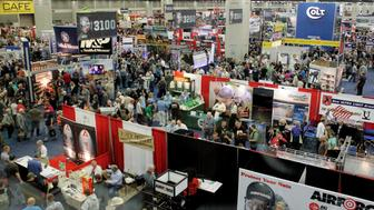 A over all view of the exhibit floor at the National Rifle Association's (NRA) annual meetings and exhibits show in Louisville, Kentucky, May 21, 2016.   REUTERS/John Sommers II