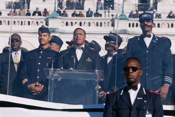 Nation of Islam leader Louis Farrakhan speaks at the Million Man March. (Photo by Larry Downing/Sygma/Sygma via Getty Images)
