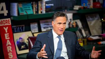 Mitt Romney, former governor of Massachusetts and former 2012 Republican presidential nominee, speaks during a Bloomberg Television interview in New York, U.S., on Friday, March 4, 2016. Romney said he would support an effort to deny Donald Trump the nomination at the party's convention in July if Trump doesn't have enough delegates to win outright. Photographer: Michael Nagle/Bloomberg via Getty Images
