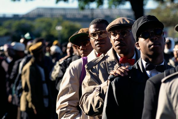 Participants gather in Washington, DC for the Million Man March, an event organized by Minister Louis Farrakhan as a day of a