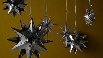 silver star christmas ornaments *** Local Caption ***