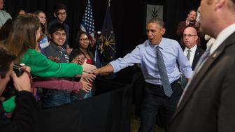 US President Barack Obama arrives to deliver a speech on the economy on February 6, 2015 at Ivy Tech Community College in Indianapolis.    AFP PHOTO/NICHOLAS KAMM        (Photo credit should read NICHOLAS KAMM/AFP/Getty Images)