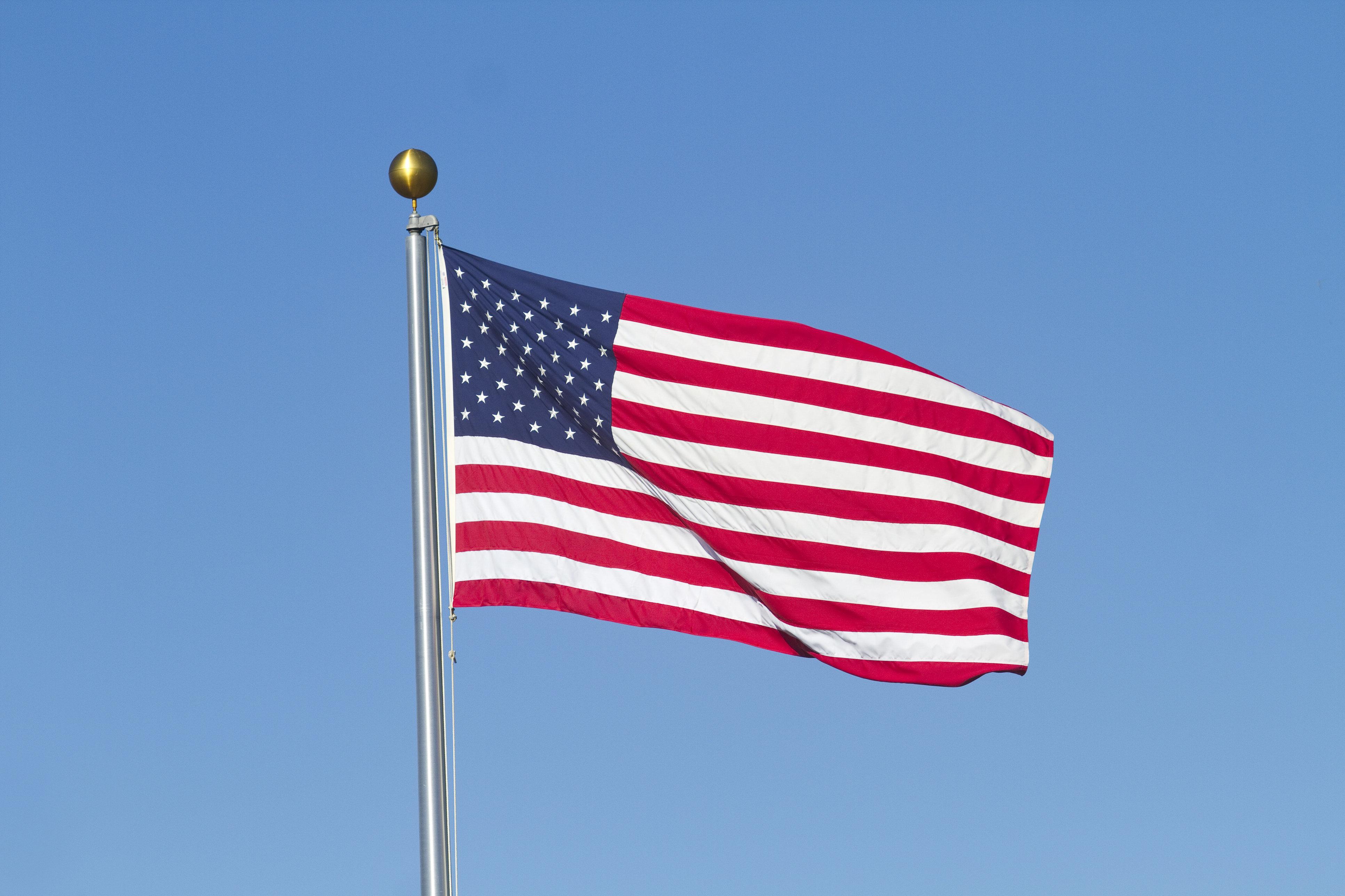 US Flag and Blue Sky