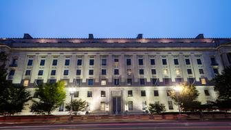 The Department of Justice at night from W.ashington DC, USA