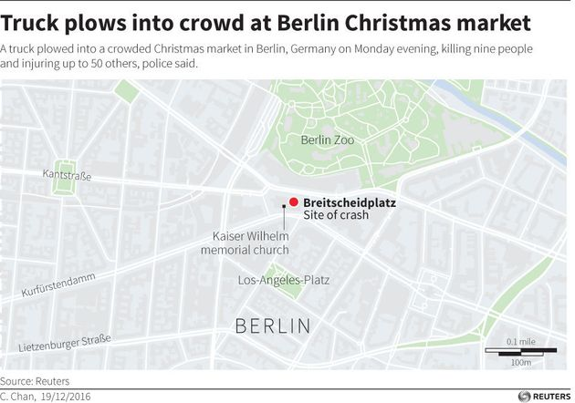 Truck Plows Into Crowd Near Christmas Market In