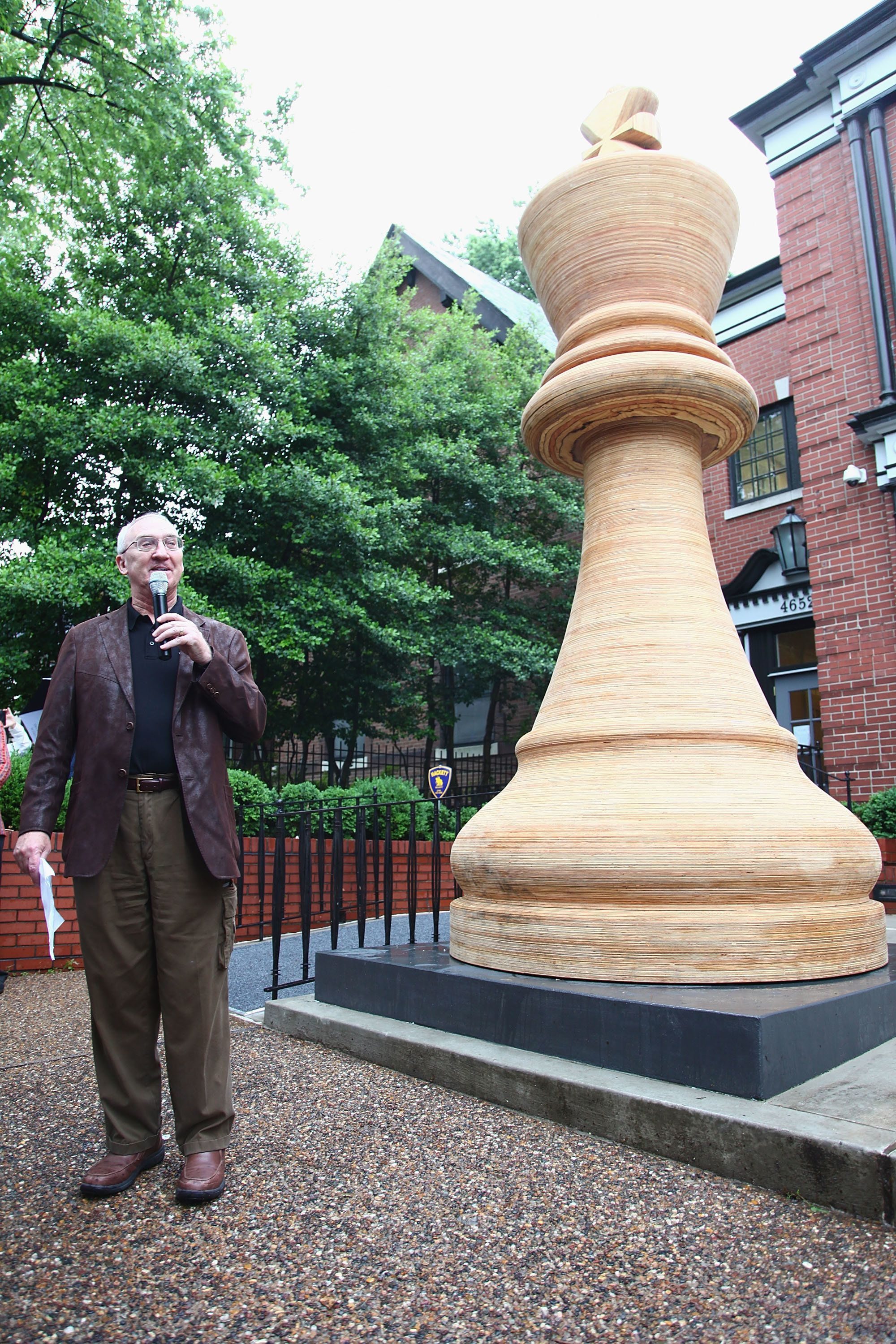 ST LOUIS, MO - MAY 07: Founder and President of the Board of the Saint Louis Chess Club Rex Sinquefield at theNew Guinness World Record Set in St. Louis: Largest Chess Piece at Chess Club and Scholastic Center of Saint Louis on May 7, 2012 in St Louis, Missouri.  (Photo by Dilip Vishwanat/Getty Images)