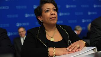 U.S. Attorney General Loretta Lynch attends a session at the OECD headquarters, in Paris, Wednesday, March 16, 2016. Ministers discuss measures to strengthen international efforts for combating foreign bribery as well as the role of the Convention and the OECD Working Group on Bribery (WGB) in the broader, global anti-corruption framework. (AP Photo/Thibault Camus)