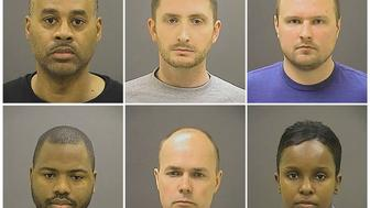 Baltimore Police Officer Caesar R. Goodson Jr., Officer Edward M. Nero, Officer Garrett E Miller (top L-R), Officer William G. Porter, Lt. Brian W. Rice, Sgt. Alicia D. White (bottom L-R), are pictured in these undated booking photos provided by the Baltimore Police Department. Baltimore's top prosecutor on July 27, 2016 dropped remaining charges against police officers tied to the death of black detainee Freddie Gray, after failing four times to secure convictions in a case that inflamed the U.S. debate on race and justice.   Courtesy Baltimore Police Department/Handout via REUTERS    ATTENTION EDITORS - THIS IMAGE WAS PROVIDED BY A THIRD PARTY. EDITORIAL USE ONLY