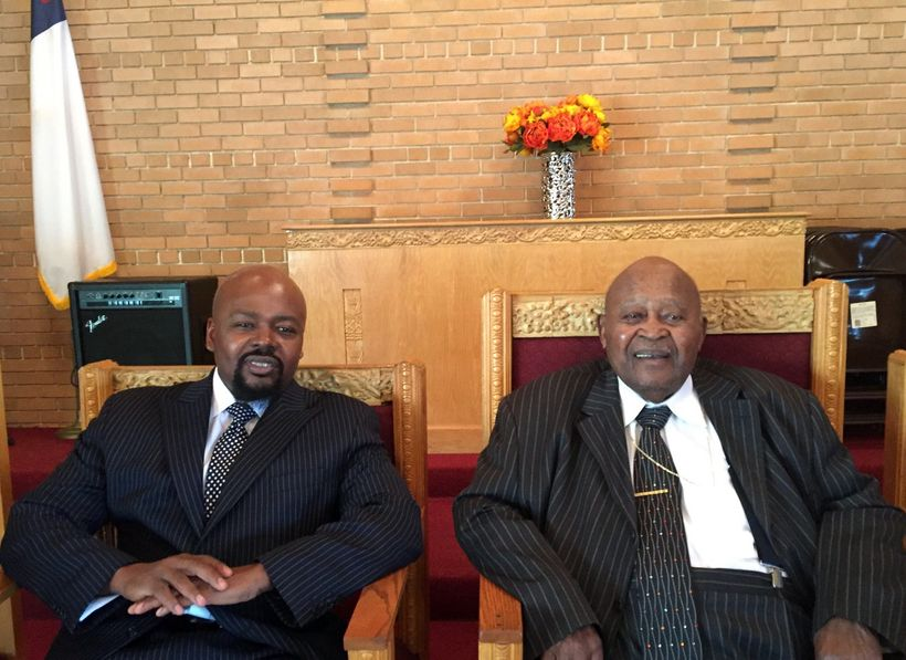 John Fountain with his grandfather George A. Hagler, 95, his idol and the patriarch and eldest living member of his family si