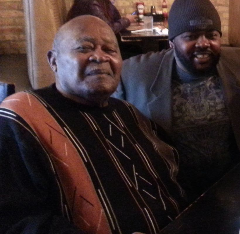 John Fountain at breakfast with his grandfather Rev. George A. Hagler.