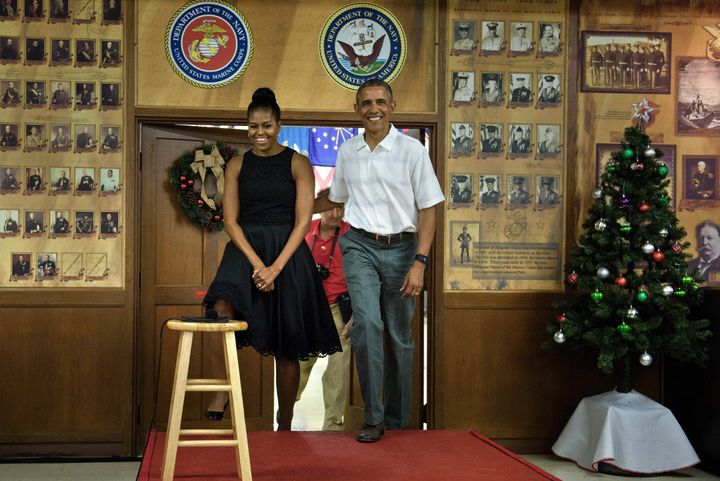PresidentObama arrives with first lady Michelle Obama to address members of the US Marines, their loved ones and others to celebrate the holidays during Christmas Day at Marine Corps Base Hawaii, December 25, 2015.