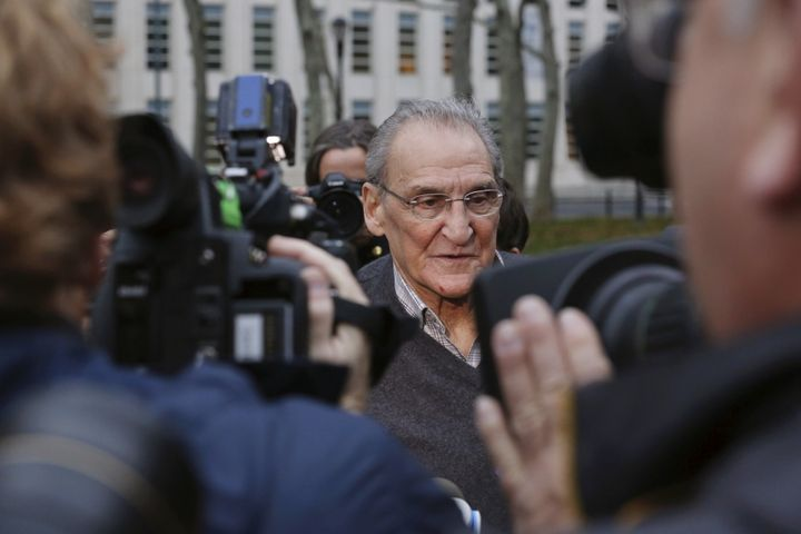 Reputed Bonanno crime family leader Vincent Asaro (C) departs Brooklyn Federal Court in New York November 12, 2015. Asaro, wh