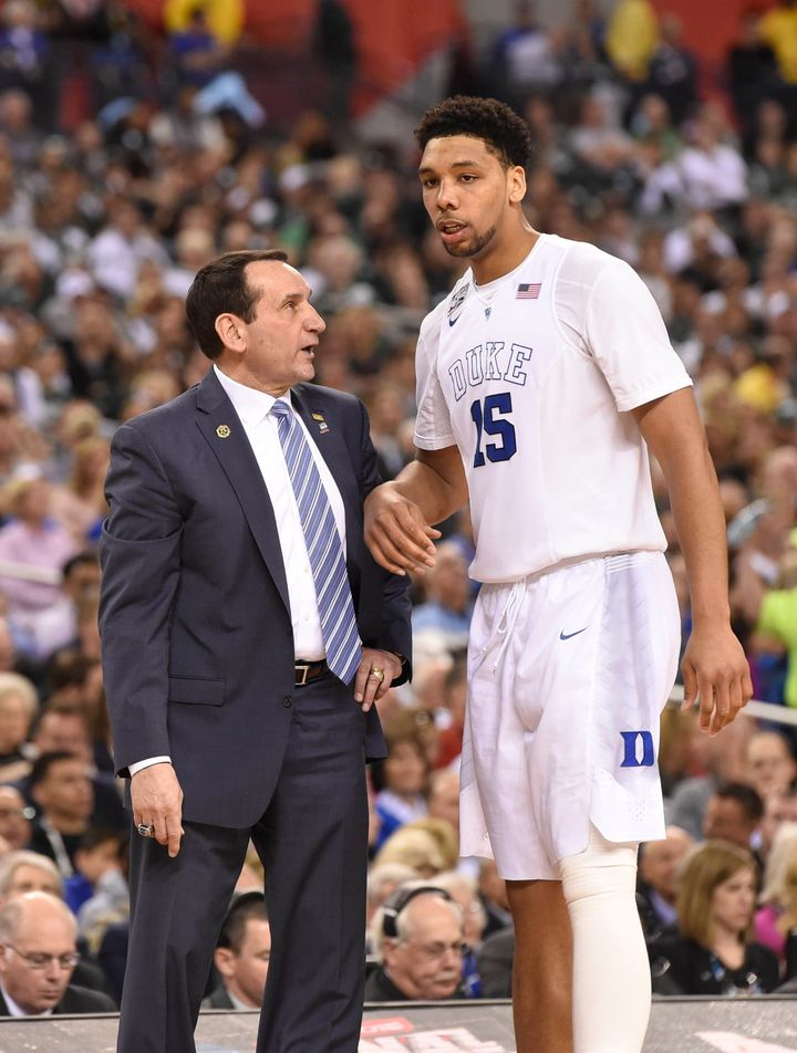 Coach K talks to consensus First-Team All-American and future No. 3 overall NBA Draft pick Jahlil Okafor during the 2015 Fina