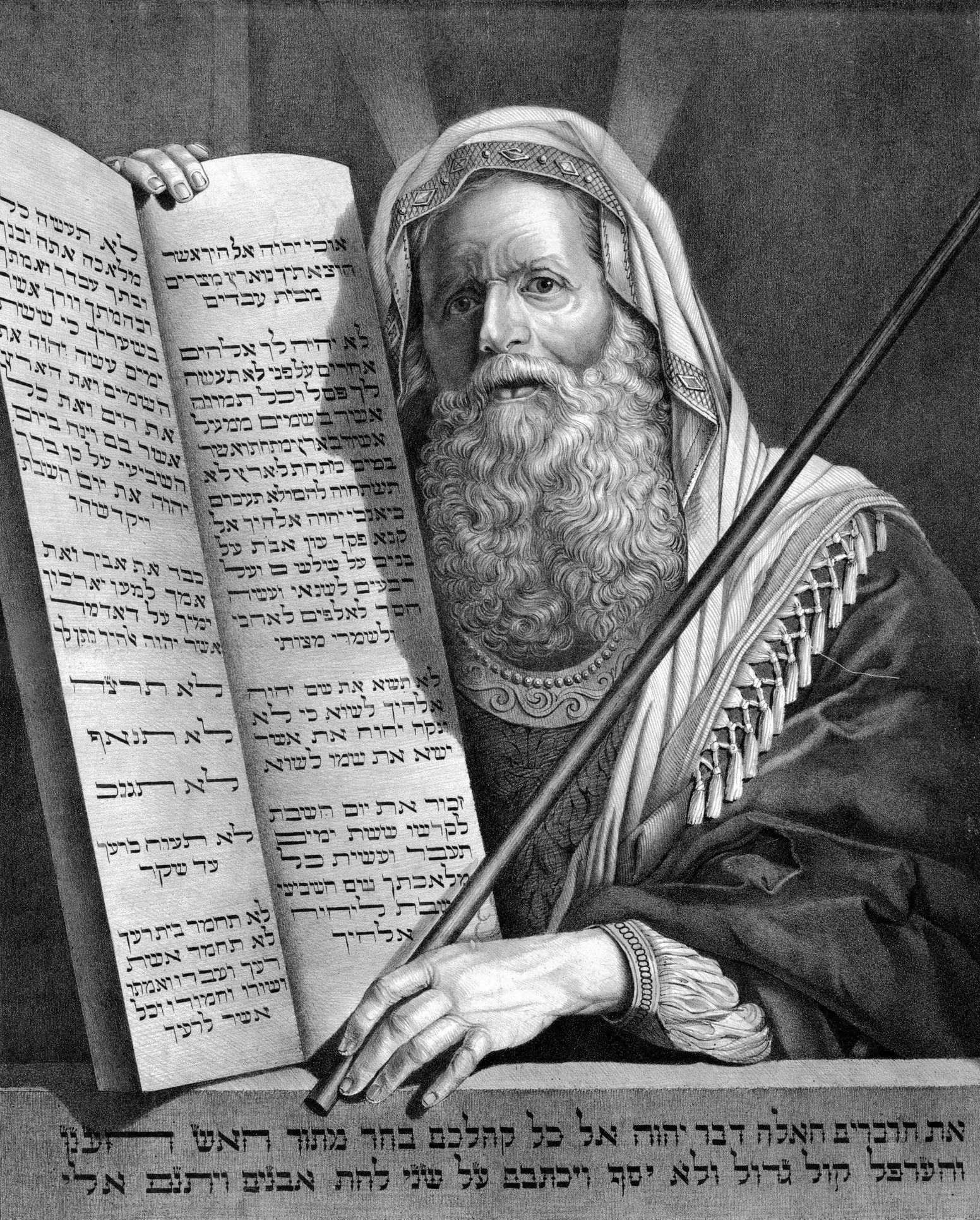 A vintage engraving featuring Moses and the Ten Commandments.