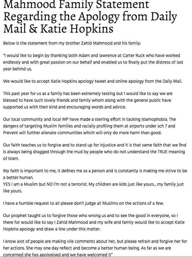The Mahmood family statement in