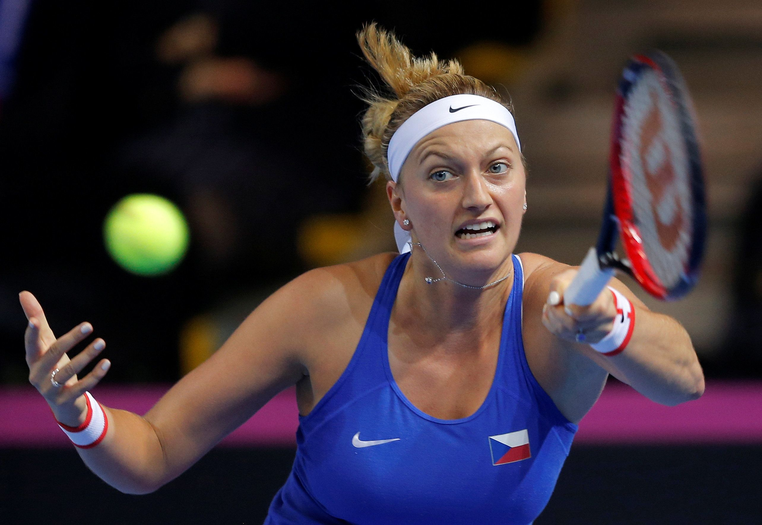 Tennis -  Fed Cup Final - France v Czech Republic - Strasbourg, France - 12/11/16  Czech Republic's Petra Kvitova plays a shot to France's Caroline Garcia. REUTERS/Vincent Kessler