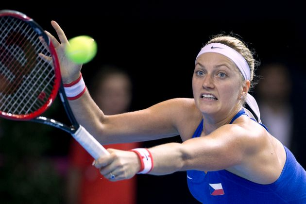 Petra Kvitova during the Fed Cup final in Strasbourg, eastern France, last