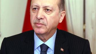 ISTANBUL, TURKEY - DECEMBER 19: President of Turkey Recep Tayyip Erdogan speaks during an interview in Istanbul, Turkey on December 19, 2016 following the gunman attack that killed Russian Ambassador to Turkey, Andrei Karlov. Russian Ambassador to Turkey Andrei Karlov has been shot multiple times at an exhibition in Ankara, Turkey and died, on December 19, 2016. Karlov was delivering a speech at the opening ceremony of a photo exhibit when an armed assailant opened fire on him. (Photo by Turkish Presidency / Yasin Bulbul/Anadolu Agency/Getty Images)