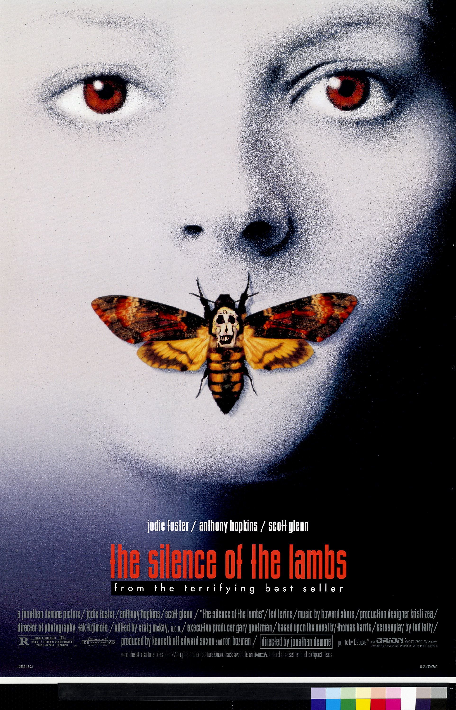 """Poster for the 1991 film """"Silence of the Lambs"""", Jodie Foster as an FBI cadet who uses one serial killer to help catch another, that won an Academy Award for Best Picture, is seen in this undated handout photo. REUTERS/Courtesy Margaret Herrick Library-AMPAS"""