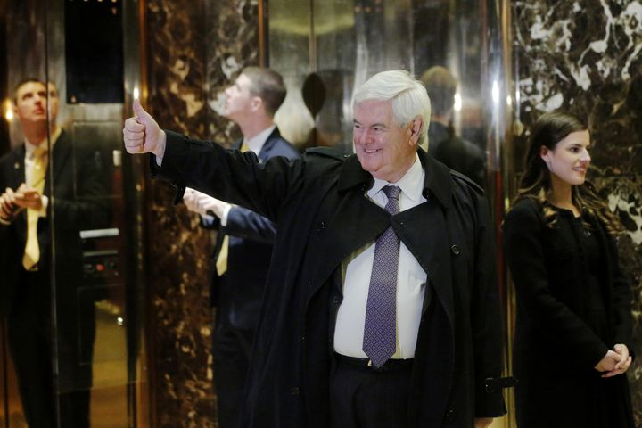 Newt Gingrich gestures as he arrives for a meeting with President-elect Donald Trump at Trump Tower in New York City on