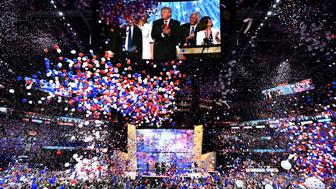 Ballons fall after Republican presidential candidate Donald Trump spoke and accepted the party nomination on the last day of the Republican National Convention on July 21, 2016, in Cleveland, Ohio. / AFP / Jim Watson        (Photo credit should read JIM WATSON/AFP/Getty Images)