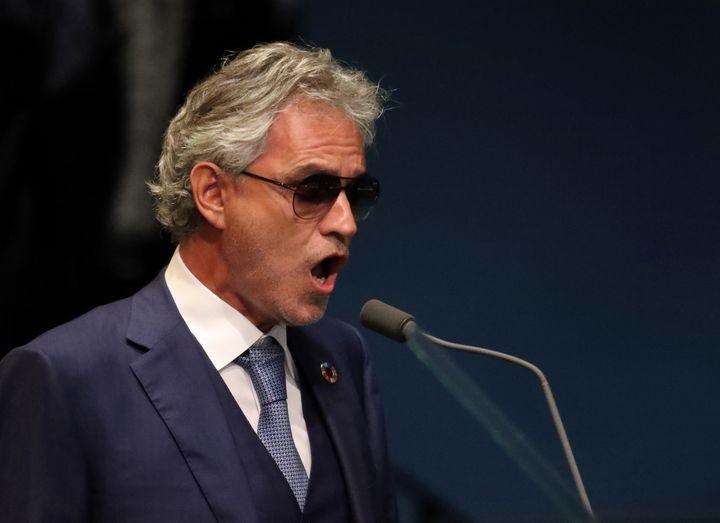 """Andrea Bocelli sings """"Nessun dorma"""" ahead of the U.N. General Debate in New York, Sept. 20."""