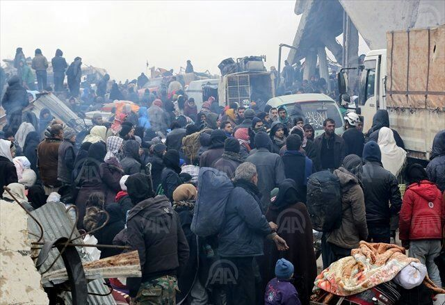 <span></span>Residents of east Aleppo wait for evacuation on Dec. 17, 2016.