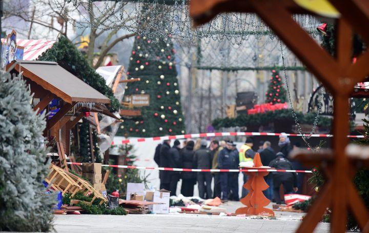 A view of the Christmas market near the Kaiser-Wilhelm-Gedaechtniskirche (Kaiser Wilhelm Memorial Church), the day after a te