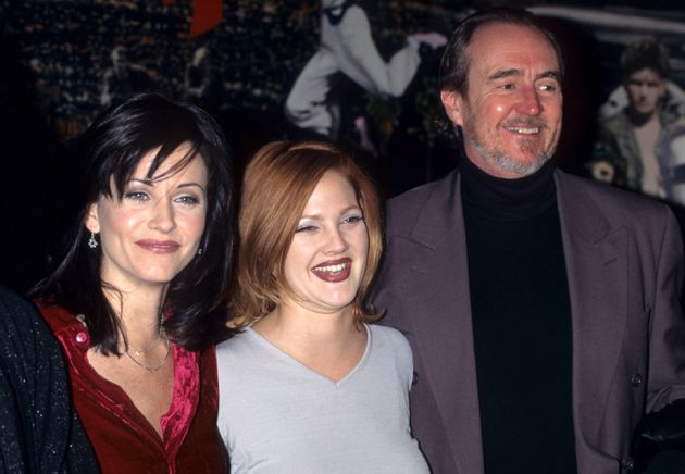 Courteney Cox, Drew Barrymore and Wes Craven attend a