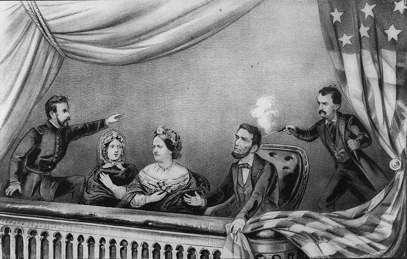 """<em>The assassination. From left to right are: Henry Rathbone, Clara Harris, </em><a rel=""""nofollow"""" href=""""https://commons.wik"""